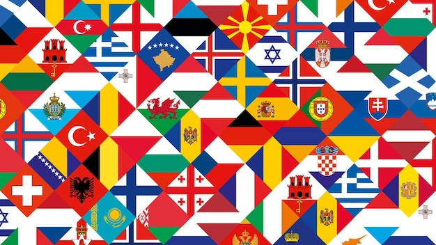 Uczestnictwo w piłce nożnej flaga tło, zestaw flagi kraju europejskiego.