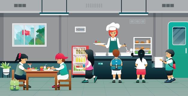 Uczniowie brali od kucharza jedzenie na stołówkę.