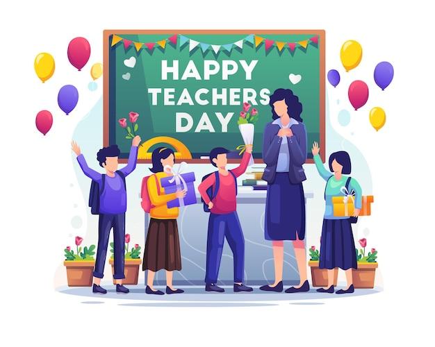 Uczniowie dzieci dają prezenty i kwiaty swojemu nauczycielowi na ilustracji dnia nauczyciela