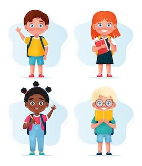 Uczniowie dziewczęta i chłopcy szczęśliwe dzieci w wieku szkolnym postacie z powrotem do szkoły koncepcja ilustracji wektorowych