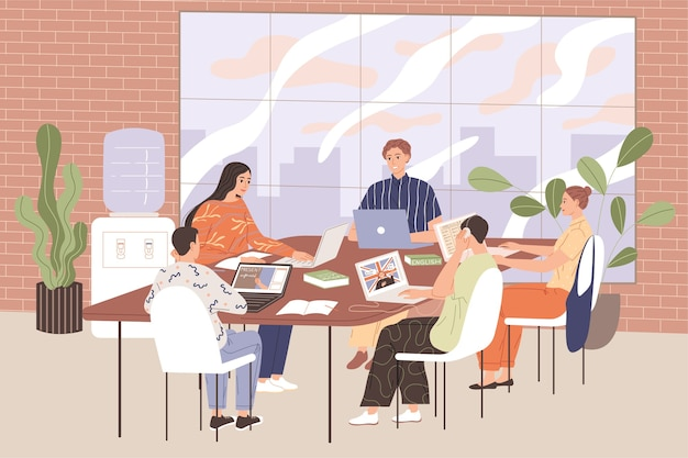 Uczniowie fakultatywnych zajęć z języka angielskiego siedzą przy stołach i studiują materiał.