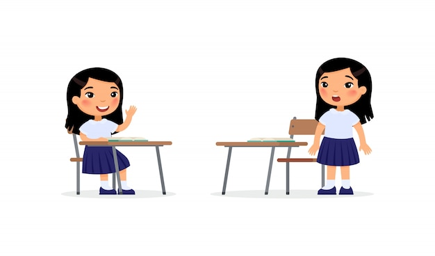 Uczniowie na lekcji płaskiej ilustracji wektorowych