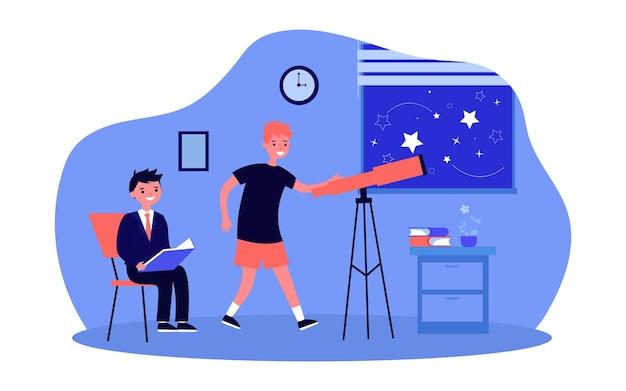 Uczniowie patrząc na nocne niebo przez teleskop. dziecko za pomocą sprzętu optycznego na statywie w pokoju ilustracji wektorowych płaski. astronomia, koncepcja edukacji dla banera, projektu strony internetowej lub strony docelowej