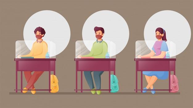 Uczniowie siedzący na biurku z osłony z pleksiglasu podczas używania maski medycznej i utrzymywania dystansu społecznego w klasie.