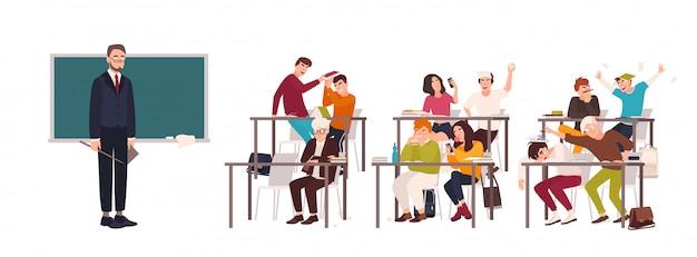 Uczniowie siedzący przy ławkach w klasie i demonstrujący złe zachowanie - walczą, jedzą, śpią, surfują po internecie na smartfonie podczas lekcji i nauczyciel patrzy na nich. płaska ilustracja.