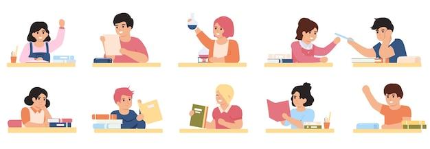 Uczniowie studiujący. uczniowie w klasie szkolnej, uczniowie szkoły podstawowej uczący się razem zestaw ilustracji