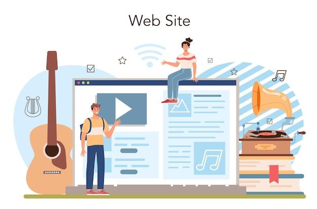Uczniowie uczą się serwisu internetowego lub platformy muzycznej lub klasy