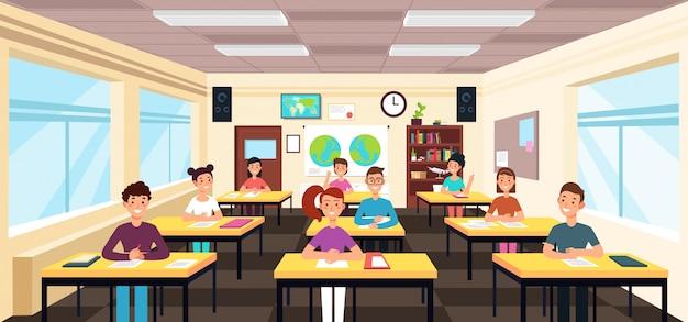 Uczniowie uczą się we wnętrzu klasy. uczniowie w szkolnej lekcyjnej wektorowej ilustraci