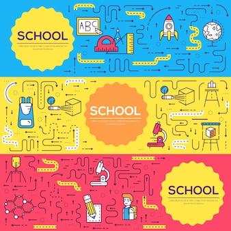 Uczniowie w klasie ilustracji ulotki