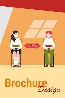 Uczniowie w maskach. nastoletnie dzieci siedzą przy biurku, utrzymując odległość ilustracji wektorowych płaski. nowe zasady, koncepcja koronawirusa