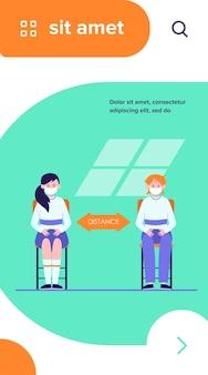 Uczniowie w maskach. nastoletnie dzieci siedzą przy biurku, utrzymując odległość ilustracji wektorowych płaski