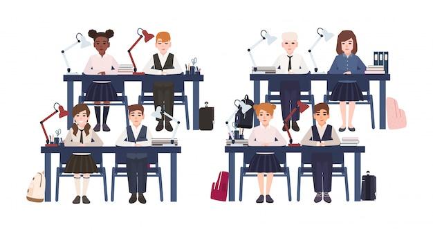 Uczniowie w mundurze siedząc przy biurkach w klasie na białym tle. smutni i uśmiechnięci chłopcy i dziewczęta ze szkoły podstawowej na lekcji w klasie. kolorowa ilustracja w stylu cartoon płaski.