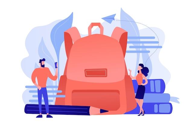 Uczniowie w nowych ubraniach i dużym plecaku, książkach, ołówku. powrót do szkolnych strojów i trendów, moda na nowy rok szkolny i pierwszy dzień szkolnych ubrań