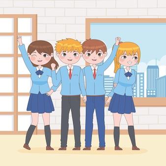 Uczniowie w stylu manga w szkole
