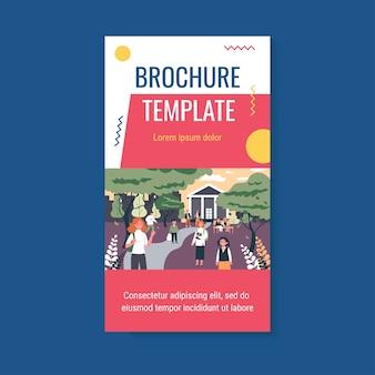 Uczniowie w szablonie broszury szkolnym