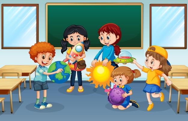 Uczniowie w tle w klasie