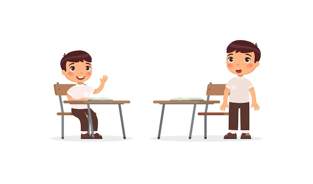 Uczniowie w zestawie lekcji. chłopiec szkolny podnoszący rękę w klasie w celu uzyskania odpowiedzi, zdezorientowany uczeń myślenia rozwiązanie zadania postaci z kreskówek. proces edukacji w szkole podstawowej