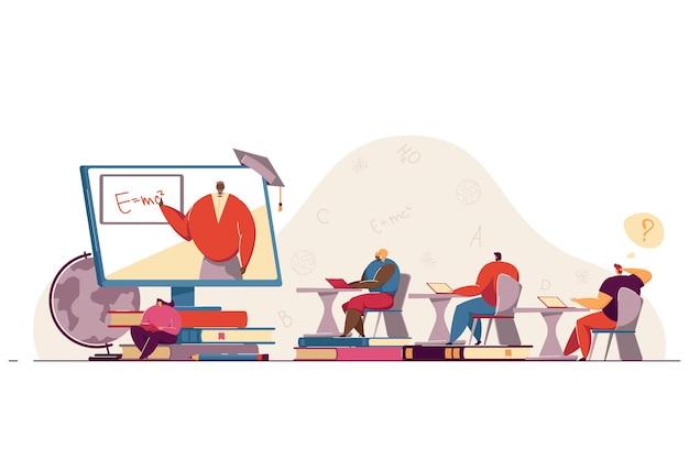 Uczniowie z laptopami uczący się matematyki online, oglądający wykład lub seminarium internetowe na komputerze. nauczyciel prowadzi lekcje wideo