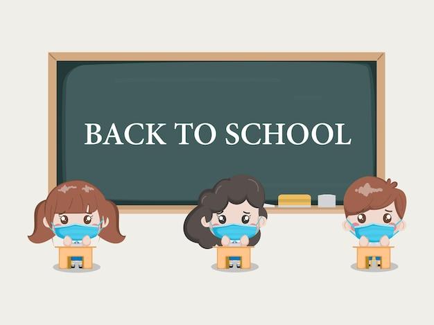 Uczniowie zdystansowani w klasie. szkoła jest bezpieczna przed covid-19.