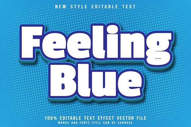 Uczucie niebieskiego, edytowalnego efektu tekstowego, wytłoczonego w nowoczesnym stylu