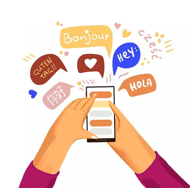 Uczyć się i uczyć języka płaska. ręka z telefonem i pozdrowienia w różnych językach.