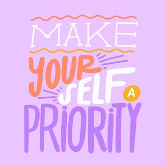 Uczyń siebie priorytetowym napisem