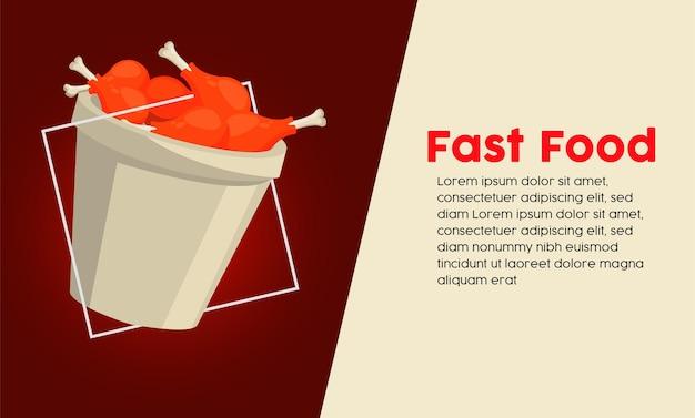 Uda z kurczaka w garnku z szablonem napisu fast food