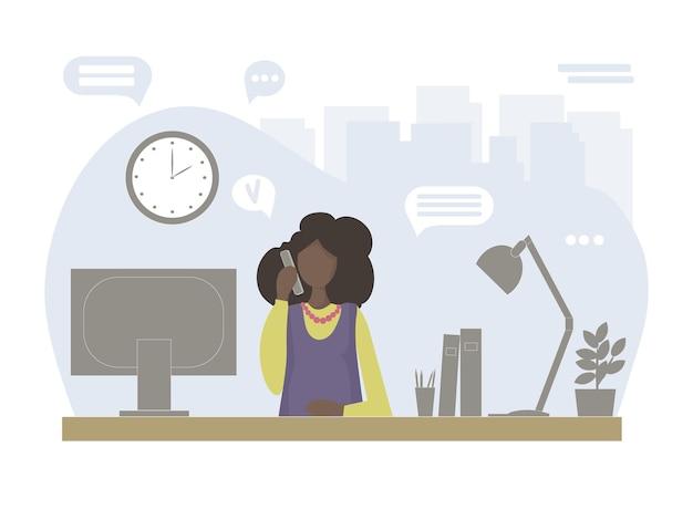 Udana piękna czarna kobieta w pracy
