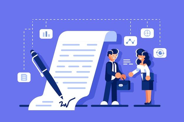 Udana umowa biznesowa. uśmiechnięty biznesmen i bizneswoman, ściskając ręce