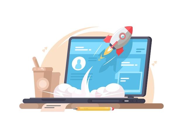 Udane uruchomienie startupu. rakieta wylatuje z laptopa.