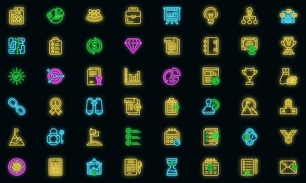Udanego biznesu ikony ustaw wektor neon