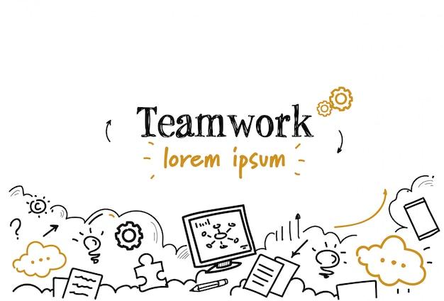 Udanej strategii biznesowej pracy zespołowej szkic doodle na białym tle miejsce