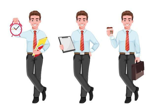 Udany biznes człowiek zestaw trzech poz