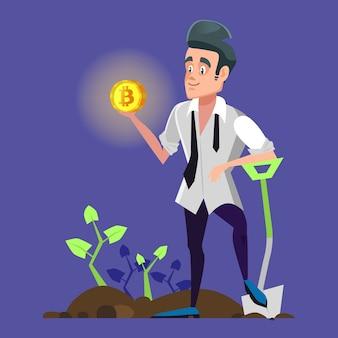 Udany kreskówka górnik bitcoinów trzymający złotą monetę