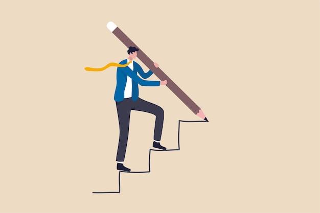 Udany rozwój biznesu, strategia osiągnięcia celu biznesowego lub koncepcja osiągnięcia ścieżki kariery