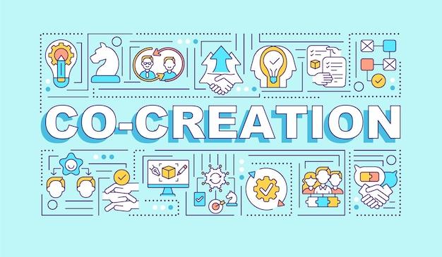 Udany zbiorowy transparent koncepcje słów kreatywności. wspólna praca. infografiki z liniowymi ikonami na turkusowym tle. typografia na białym tle. zarys ilustracja kolor rgb