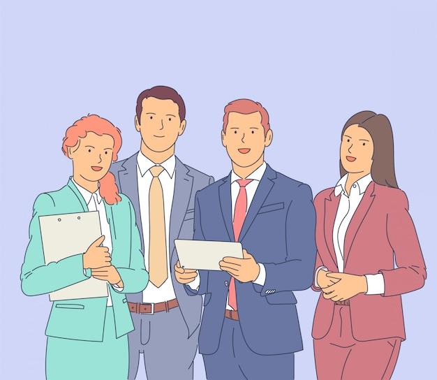 Udany zespół biznesowy, szczęśliwi pracownicy. ilustracja.