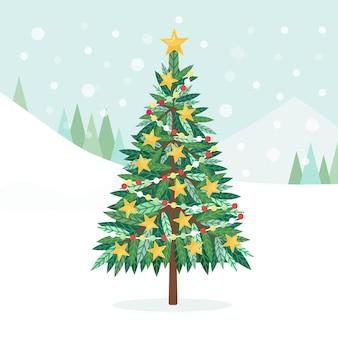 Udekorowana choinka z gwiazdkami bożonarodzeniowymi, lampkami, kulami dekoracyjnymi i lampkami, świecącą girlandą. wesołych świąt i szczęśliwego nowego roku. koncepcja wakacji