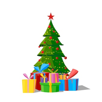 Udekorowana choinka z pudełkami na prezenty, gwiazdą, lampkami, bombkami i lampkami. wesołych świąt i szczęśliwego nowego roku. ilustracja wektorowa płaski.