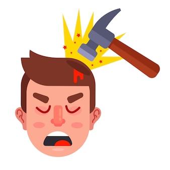 Uderz osobę w głowę młotkiem. ilustracja wektorowa płaskie.