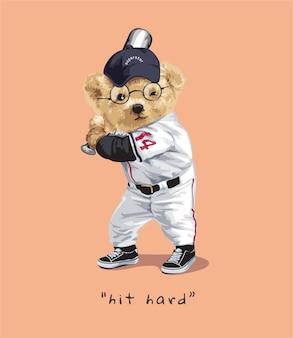 Uderz w twardy slogan z lalką niedźwiedzia na ilustracji uderzania baseballu