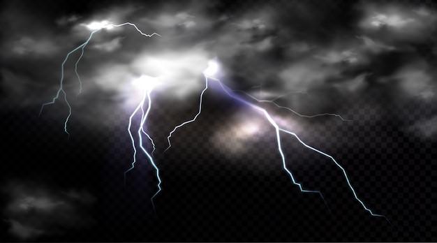 Uderzenia piorunów i chmura burzowa, wyładowanie elektryczne i chmura burzowa, miejsce uderzenia lub magiczny błysk energii.