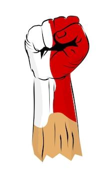 Uderzenie lub pięść ręka i flaga indonezji na obchody dnia niepodległości indonezji