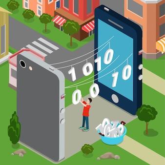 Udostępnianie informacji komunikacji transferu danych koncepcja włamania hakera.