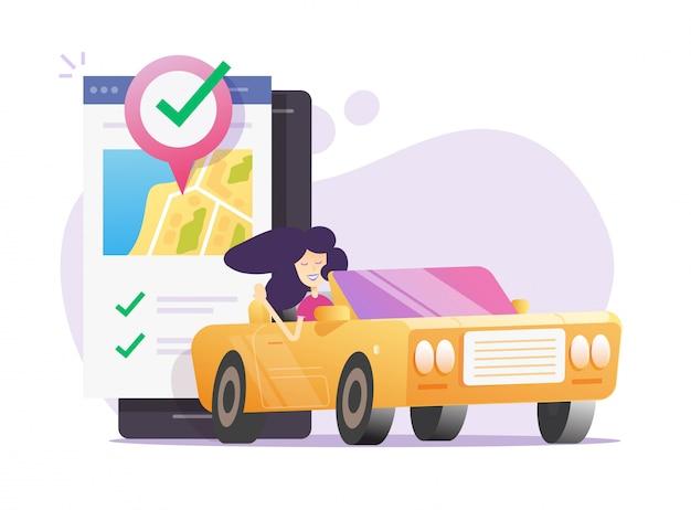 Udostępnianie samochodów i wynajem taksówek za pośrednictwem usługi telefonu komórkowego online lub klub udostępniania samochodów do wynajęcia samochodu za pomocą smartfona mapa miasta pin wskaźnik auto lokalizacji