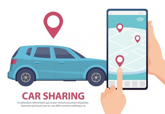 Udostępnianie samochodu. wynajem samochodu online koncepcja strony internetowej aplikacji mobilnej. znajdź pojazd na ilustracji mapy. niebieski samochód, smartfon, ręce