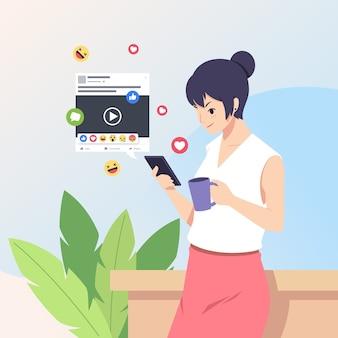 Udostępnianie treści w mediach społecznościowych z kobietą posiadającą smartfona