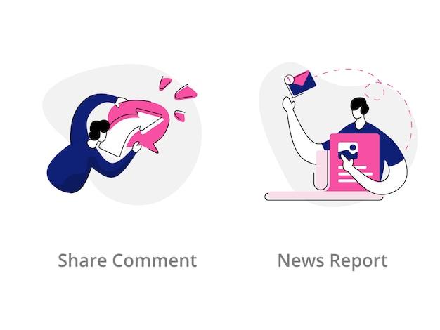 Udostępnij komentarz, koncepcja ilustracji raportu wiadomości