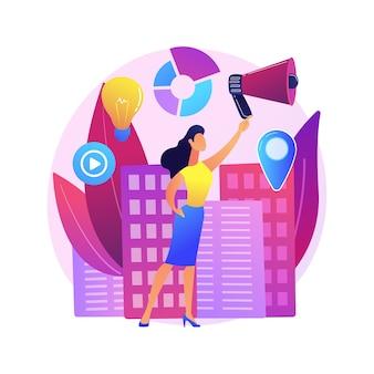 Udział kobiet abstrakcyjna ilustracja koncepcja. równość płci, udział kobiet w życiu politycznym, liderka mówców, demokracja, udana prezentacja