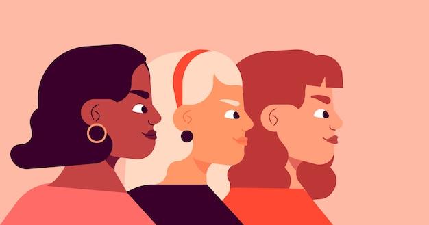 Ufny awatar boczny widok kobiecych przedsiębiorców
